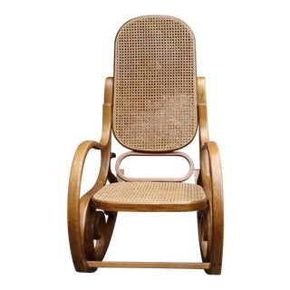 Vintage MCM Thonet Style Bentwood Rocking Chair Wicker Rattan For Sale