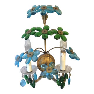 Mid Century Modern Sconce with Blue and Green Flowers