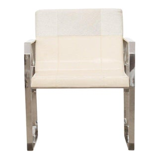 Modern Cream Hair on Leather Dining Chair For Sale