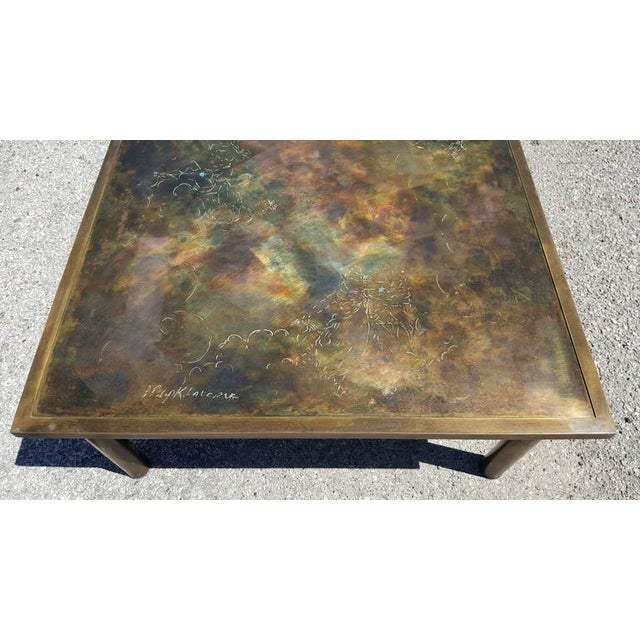 Gold Philip and Kelvin LaVerne 'Classical' Motif Acid-Etched Bronze Coffee Table For Sale - Image 8 of 9