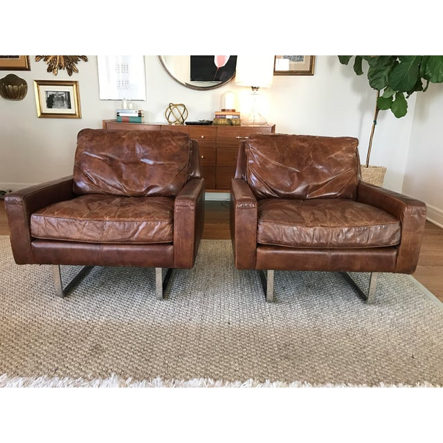 Timothy Oulton Modern Leather Club Chairs - A Pair - Image 2 of 8