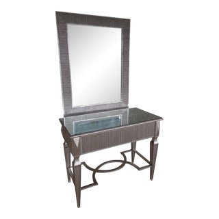 Friedman Brothers Hollywood Regency Silver Gilt Console & Mirror For Sale