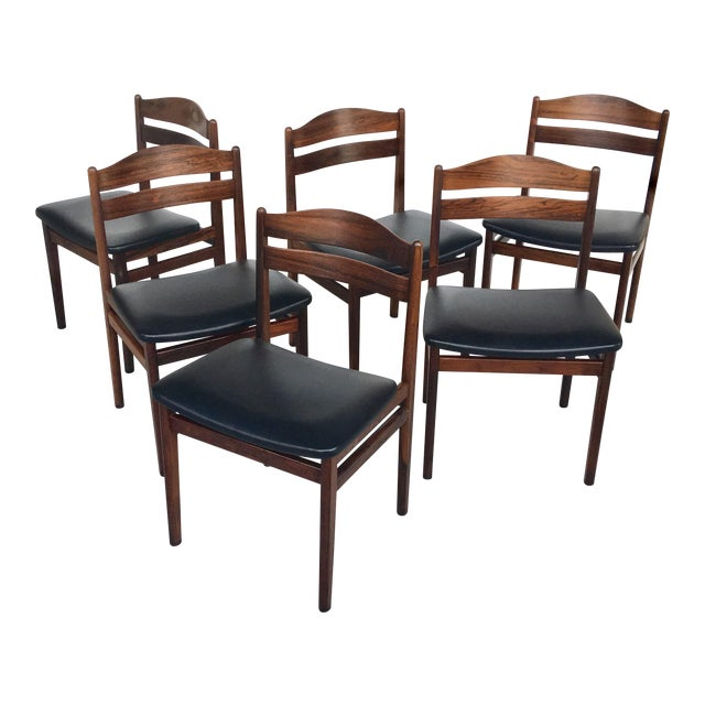 Danish Modern Rosewood Dining Chairs - Set of 6 - Image 1 of 8