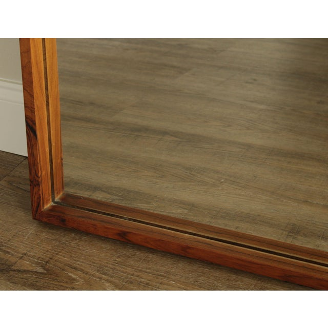 Brown Danish Modern Mid Century Rosewood Rectangular Wall Mirror For Sale - Image 8 of 13