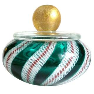 Murano Green White Ribbons Gold Top Italian Art Glass Vanity Powder Jewelry Box For Sale
