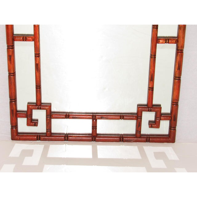 Wood Antique Chinoiserie Faux Bamboo Painted Mirror For Sale - Image 7 of 8