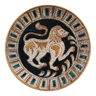 1950s Mid Century Modern Italian Fratelli Fanciullacci Embee Lion Mythical Beast Art Pottery Plate For Sale