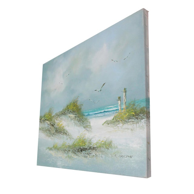 """Signed """"C. Melton"""" better known as Catherine Parker Melton, an active 20th century oil painter and sculptor. With ocean..."""