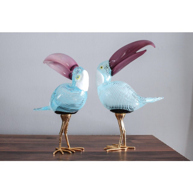 Murano Glass Toucan Birds on Gilt Legs in the Style of Licio Zanetti - Pair For Sale - Image 13 of 13