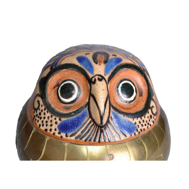 Brass and Pottery Hand Crafted Owl - Image 4 of 8