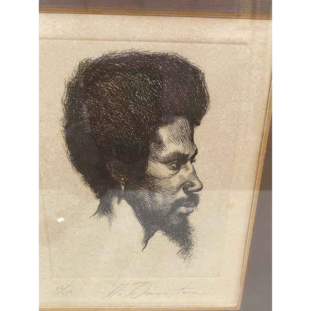 1960s Portrait of a Black Male Etching Numbered 26/250, Framed For Sale - Image 4 of 5
