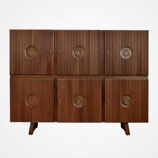"Six door cabinet in oak by Paolo Buffa. Brass hardware. Branded mark, ""ESPOSIZIONE PERMANENTE MOBILI CANTU"". Documented in..."