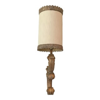 Large Italian Hollywood Regency Carved Wall Lamp Sconce For Sale
