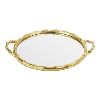 Gold Round Bamboo Mirrored Tray For Sale
