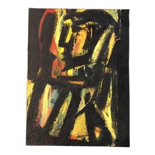 Vintage Original Abstract Modernist Portrait Painting For Sale