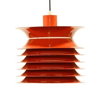 1970 Vintage Danish Design Aluminium & Red Lacquer Pendant Light