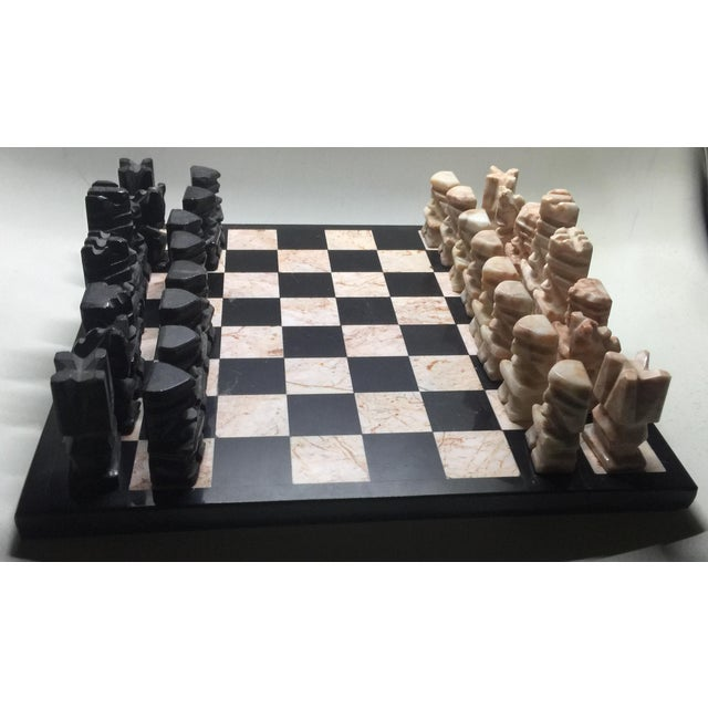 Carved Aztec-Style Marble Chess Set For Sale In Los Angeles - Image 6 of 6