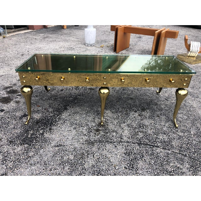 Mid 20th Century Hollywood Regency Brass and Glass Coffee Table For Sale - Image 5 of 5