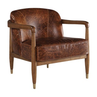 Distressed Leather Club Chair For Sale