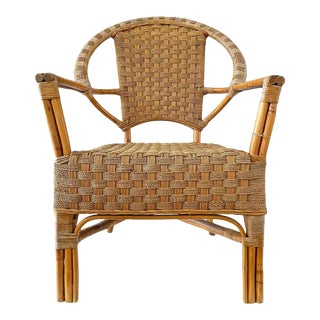 Mid 20th Century Bamboo Rattan and Jute Armchair For Sale
