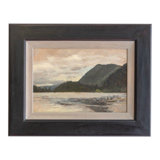 """Lockwood De Forest Oil Painting on Paper, Entitled """"Cloudy Day Over Mountain Lake"""" For Sale"""