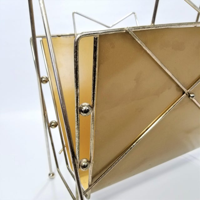 Rare Atomic Mid Century Modern Magazine Holder Rack - Sputnik Era 1950s Abstract Minimalist Art Deco For Sale - Image 9 of 13