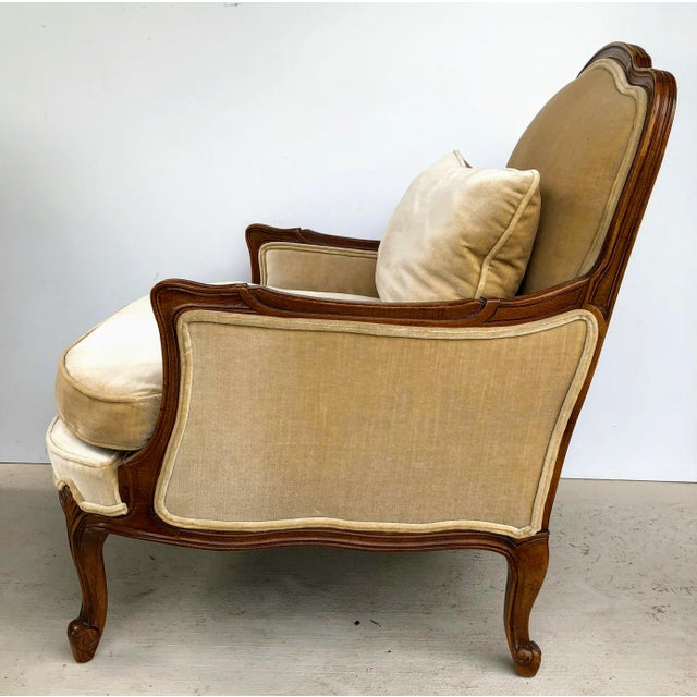 Weiman Queen Anne Bergere Arm Chairs in Wheat Velvet- A Pair For Sale - Image 10 of 13