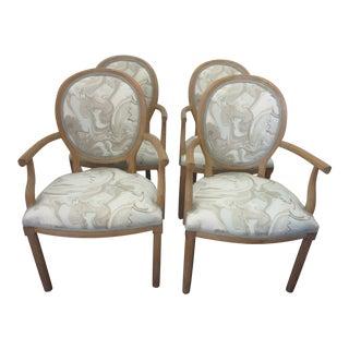 Mid Century Italian Erwin Lambeth Carved Beechwood Armchairs - Set of 4 For Sale