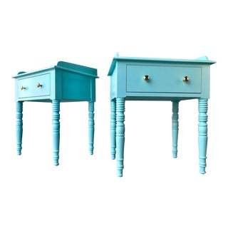 C F Kent Furniture High Gloss Lacquered Key Largo Blue / End Tables - a Pair For Sale