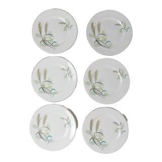 Madcap Cottage English Bone China Leaf-Pattern Sandwich Plates, S/6 For Sale