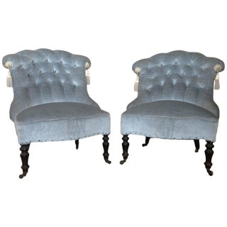 French Napoleon III Tufted Blue Slipper Chairs- A Pair For Sale