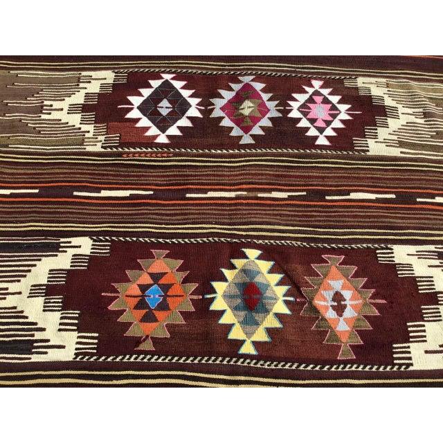 Vintagr Turkish Kilim Rug For Sale In Raleigh - Image 6 of 11