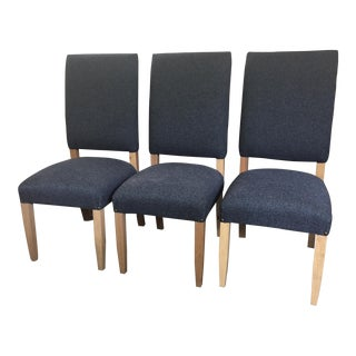 Navy Blue Performance Fabric Dining Chairs - Set of 6 For Sale