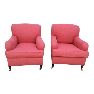 George Smith Roll-Arm Club Chairs - a Pair For Sale