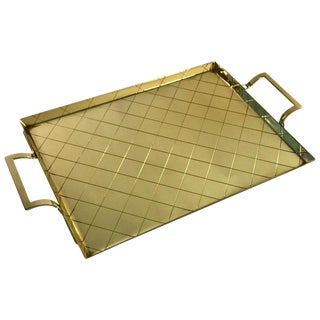 Tommi Parzinger for Dorlyn Silversmiths Rectangular Brass Handled Tray For Sale