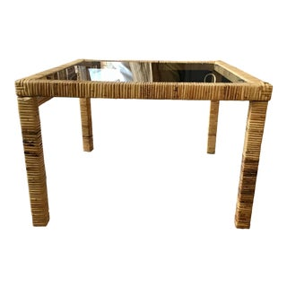 Bielecky Brothers Rattan Square Coffee Table For Sale