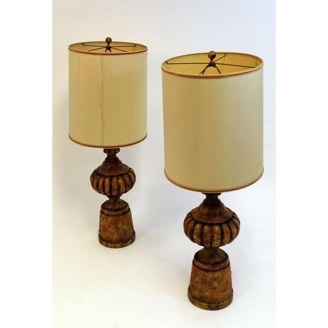 For your consideration is a pair of Michael Taylor for Chapman lamps. They are cast composite stone and gesso finish....