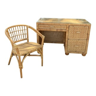 Vintage Boho Chic Natural Color Bamboo and Rattan Desk and Chair Set - 2 Pieces For Sale