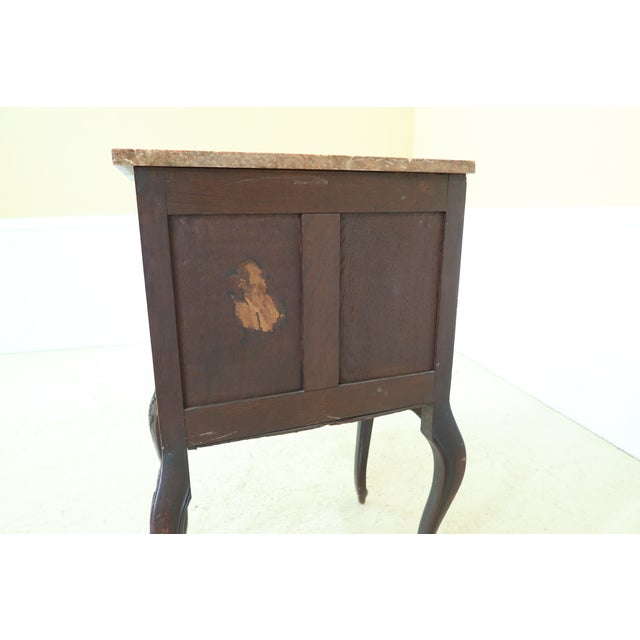 Vintage French Louis XV Marble Top Walnut Chest For Sale - Image 9 of 13