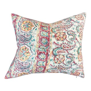 Vintage Hand Blocked Indian Paisley Pillow For Sale