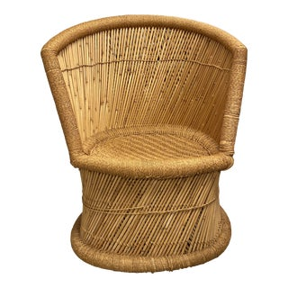 1960s Woven Ratan and Bamboo Chair For Sale