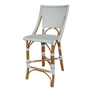 Bistro Counter Chair, White, Rattan For Sale