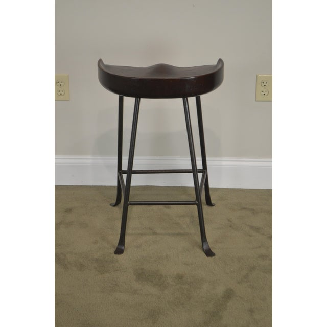 Custom Quality Solid Wood Seat Pair of Iron Backless Bar Stools For Sale In Philadelphia - Image 6 of 13