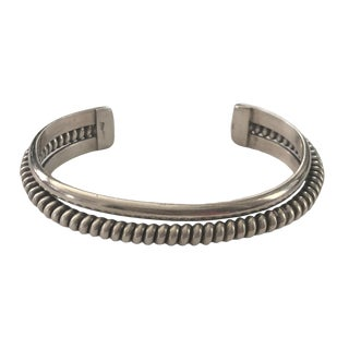 Native American Style Sterling Silver Cuff Bracelet For Sale