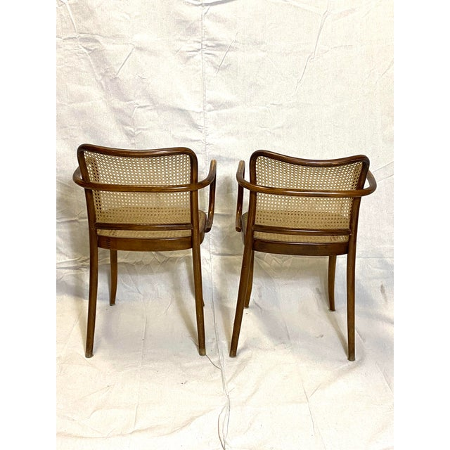 Rare Antique Stendig Set of 4 Bentwood French Stitched Nylon Cane Wood Dining Chairs For Sale - Image 12 of 13