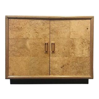 1980s Henredon Olive Burl Wood Dry Bar Cabinet For Sale