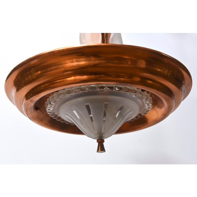 Copper and Glass French Art Deco Pendant For Sale - Image 10 of 12