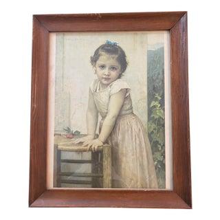 "Late 19th Century ""Yvonne"" Portrait Print After William Bovgvereav, Framed For Sale"