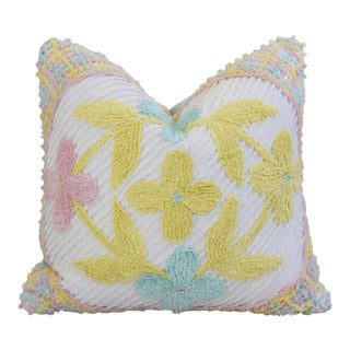"Jumbo Floral Pastel Tufted Chenille Feather/Down Pillow 24"" Square For Sale"