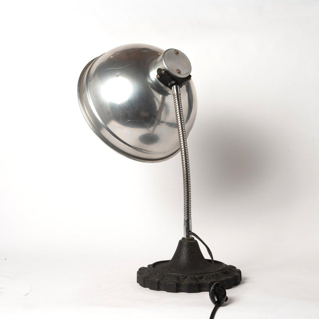Industrial Vintage Industrial Gooseneck Table Lamp With an Aluminum Shade and a Cast Iron Base For Sale - Image 3 of 13